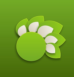 Circle label with green leaves vector image