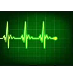 Heart cardiogram on it deep green EPS 8 vector image