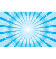 Light blue music background with radial rays vector