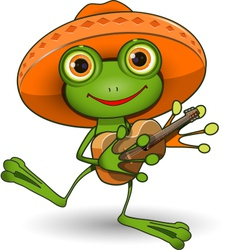 Frog with guitar vector