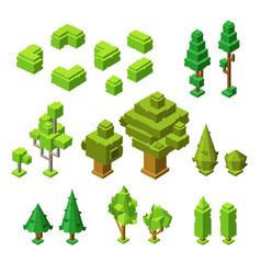 3d isometric trees of plastic vector image
