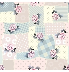 Retro patchwork with roses vector