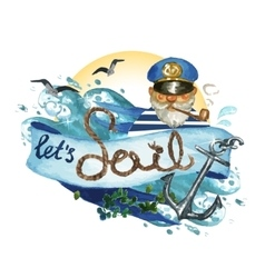 Lets sail - watercolor painting vector