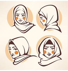 Muslim girls collection vector