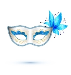 White carnival mask with blue flower and golden vector
