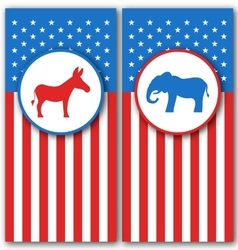 Banners with donkey and elephant as a symbols vote vector