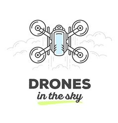 Creative top view drone with text on whit vector