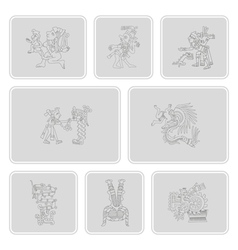 Symbols from aztec codices for your design vector