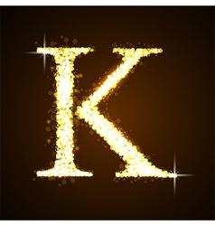Alphabets K of gold glittering stars vector image vector image