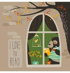 Bear reading a book near the window vector image