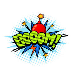 Boom exlosion sound comic cartoon style bubble vector