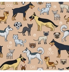 Cats and dogs seamless pattern vector image vector image