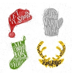 Christmas silhouettes hat color vector image