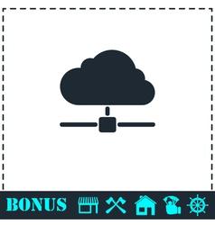 Cloud computingserver icon flat vector image vector image