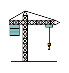 color sketch silhouette crane machinery for vector image vector image