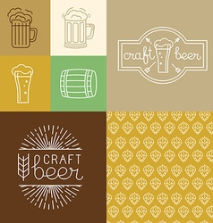 Craft beer and brewery logos and design elements vector