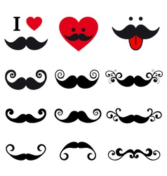 curly mustache set design elements vector image