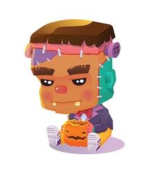 Cute cartoon halloween character - frankenstein vector