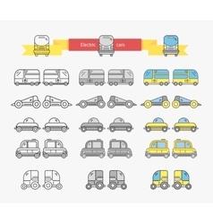 Electric car bus concept design linear vector