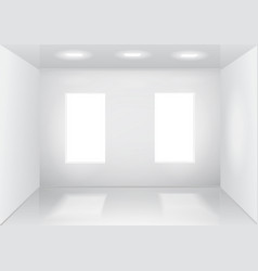 empty white room with windows front veiw vector image