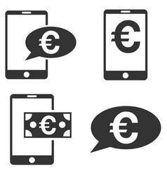 euro mobile balance flat icon set vector image vector image
