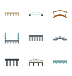 Facility for crossing river icons set flat style vector