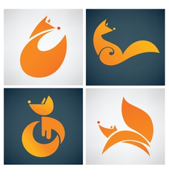Foxes signs symbols and icons vector