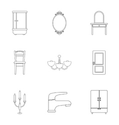 Furniture set icons in outline style Big vector image vector image