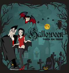 Halloween backgrounds with vampire family couple - vector