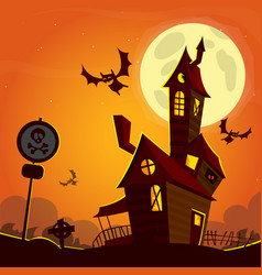 haunted house on night background with a full vector image vector image