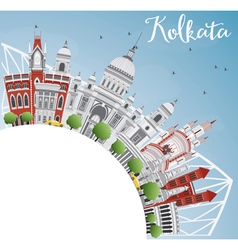 Kolkata skyline with gray landmarks vector