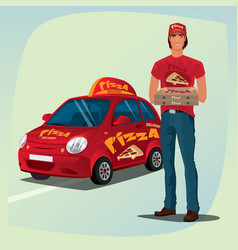 man holding out pizza boxes in front of car vector image vector image