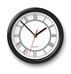 Noble wall clock with roman numerals in black vector