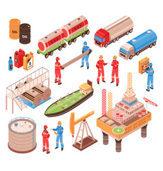 oil gas isometric icons vector image