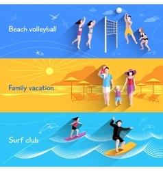 People on beach banner vector
