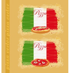 Pizza grunge poster set vector