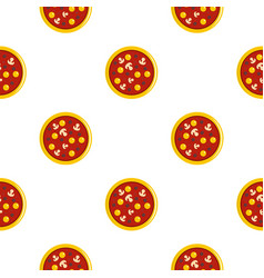 Pizza with yolk olives mushrooms tomato pattern vector