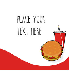Red template with burger and red soda cup vector