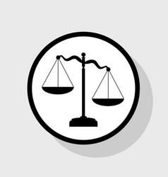 Scales of justice sign flat black icon in vector