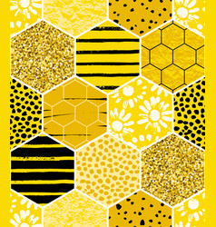 Seamless geometric pattern with honeycomb trendy vector