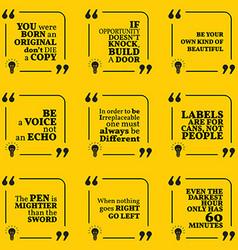 Set of motivational quotes about unique vector