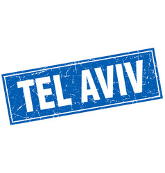 Tel aviv blue square grunge vintage isolated stamp vector