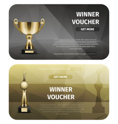 two black and brown winner voucher with gold cups vector image vector image