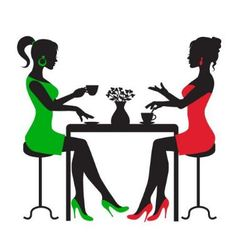 Two women drinking coffee at a table vector
