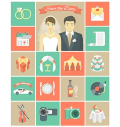 Wedding icons in squares vector