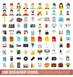 100 designer icons set flat style vector image vector image