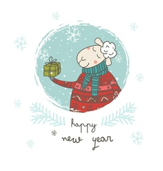 happy new year sheep with gift card vector image