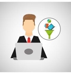business man working laptop data analytics vector image