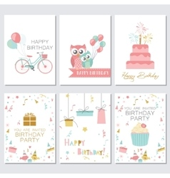 Birthday greeting and invitation cards with cakes vector