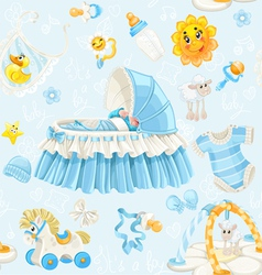 Seamless pattern of cribs toys and stuff on blue vector